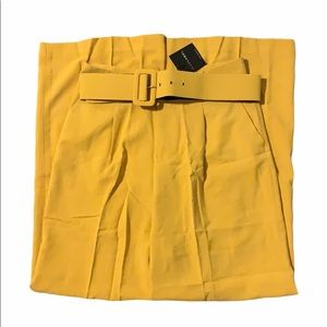 NWT JLUXLABEL Mustard Laurie Wide Leg Belted Pants